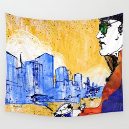 Hipster with Coffee Wall Tapestry