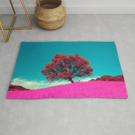 Cute Little Lonely Red Tree On Pink Meadow Ultra HD Rug