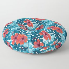 Tropical Hibiscus Pattern Red Floor Pillow