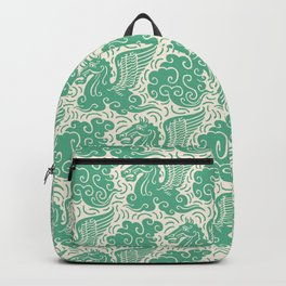 Pegasus Pattern Beige and Green Backpack
