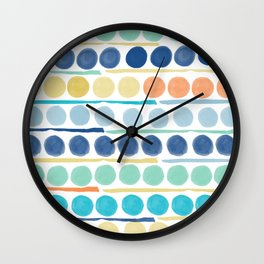 Dots and Lines Blue Wall Clock