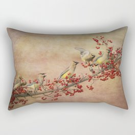 Cedar Waxwings Gathering Rectangular Pillow