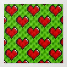 Knitted heart pattern - green Canvas Print