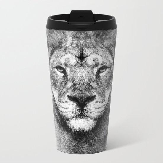 Lion Black and White Metal Travel Mug