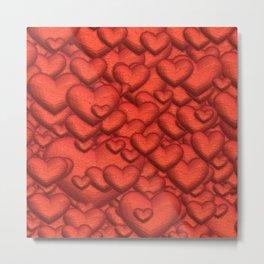 Shimmering Hearts, deep red Metal Print