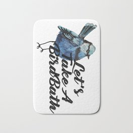 Blue Bird watercolor pattern Bath Mat