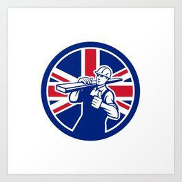 British Lumberyard Worker Union Jack Flag Icon Art Print