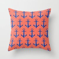 anchors Throw Pillows featuring Anchors by Maria Tanygina