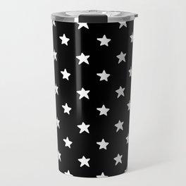 Polka Stars: Black and White Travel Mug