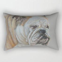 ENGLISH BULLDOG Realistic Dog portrait Pastel drawing on gray background Rectangular Pillow