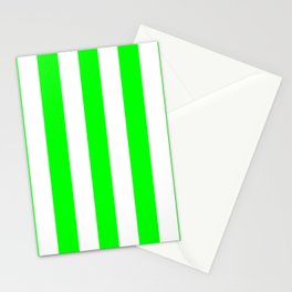 Lime (web) (X11 green) - solid color - white vertical lines pattern Stationery Cards