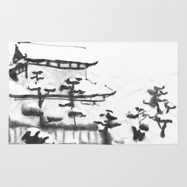 Traditional Japanese house in snow Rug
