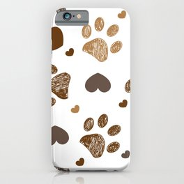 Doodle brown paw prints with hearts seamless fabric design pattern iPhone Case