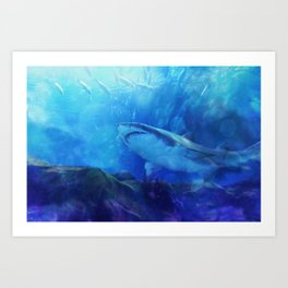 Make Way for the Great White Shark King  Art Print
