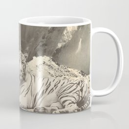 Giant White Tiger in Mountains Coffee Mug