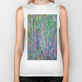 Teal Blue Abstract Forest Landscape, Forest Secrets, Fantasy Fairy Art Biker Tank