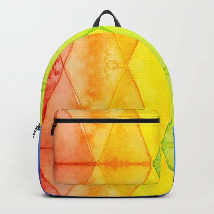 Geometrict Abstract Rainbow Watercolor Pattern Backpack