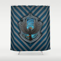 ravenclaw Shower Curtains featuring Hogwarts House Crest - Ravenclaw Film by Teo Hoble