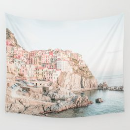 Positano, Italy Amalfi coast pink-peach-white travel photography in hd Wall Tapestry