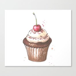 Delicious cupcake with cherry on top Canvas Print