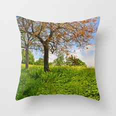 Meadow in the spring Throw Pillow
