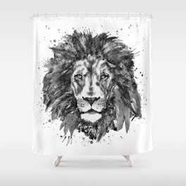 Black and White Lion Head Shower Curtain