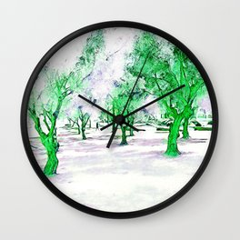 White City garden with trees. Photography and design. Wall Clock