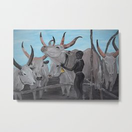 African Boy with cows Metal Print