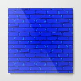 The Bright Blue Brick Wall Background Metal Print