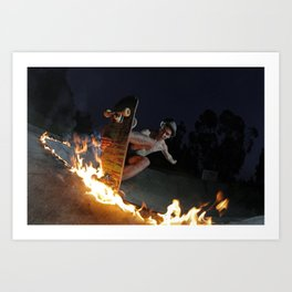 Fire in the mountain Art Print