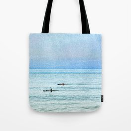 Seascape with kayaks watercolor Tote Bag