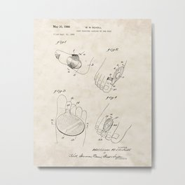 Foot Cushions Vintage Patent Hand Drawing Metal Print
