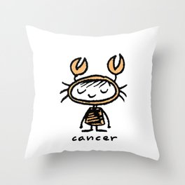 crabby cancer cutie pie Throw Pillow