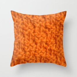 Double seed stitch knitting in bright orange Throw Pillow