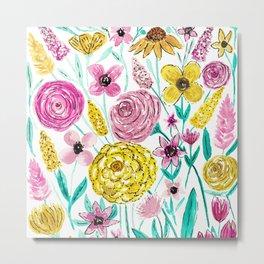 Summer Pink Yellow Flowers Watercolor Pattern Metal Print