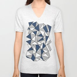Abstraction Lines with Navy Blocks Unisex V-Neck