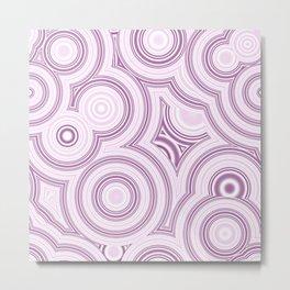 Elegant Funky Pastel Pink Retro Marble Circles Pattern Metal Print