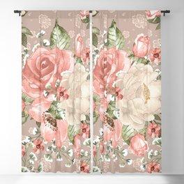 Peach Blush Vintage Watercolor Floral Pattern Blackout Curtain