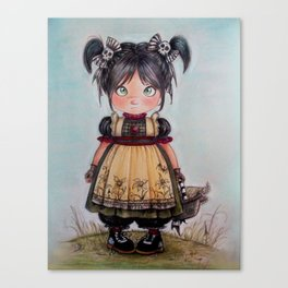 gothic girl and funny skulls Canvas Print