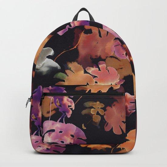 brown tropical leaves Backpack