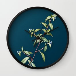 Vintage Birdbill Dayflower Botanical Illustration on Teal Wall Clock