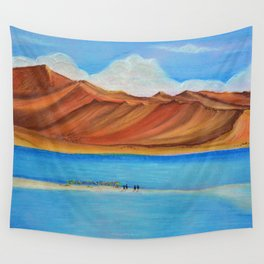 Pangong lake in pastel colours, Landscape painting. Wall Tapestry