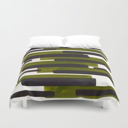 Olive Green Primitive Stripes Mid Century Modern Minimalist Watercolor Gouache Painting Colorful Str Duvet Cover