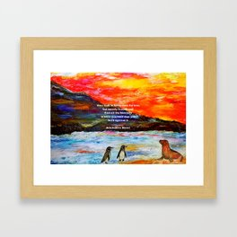 Inspirational Finding Your Love Quote With Penguins Painting Framed Art Print