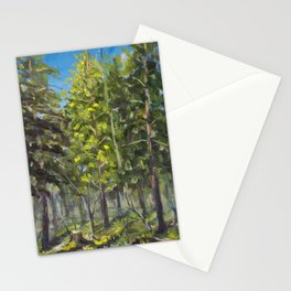 Sunny landscape in a spring forest oil painting on canvas. Artist Valery Rybakow Stationery Cards