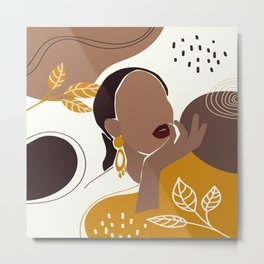 African American Art, Leaf Girl Print, Black Woman Wall Art, Black Girl Print, Fashion Print Metal Print