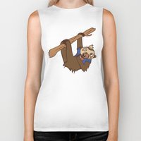 sloth Biker Tanks featuring Sloth by Hoborobo