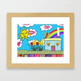 Rainbow House Framed Art Print