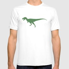 T- Rex Dinosaur Emerald Green  MEDIUM Mens Fitted Tee White