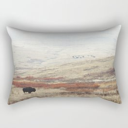 Lone Bison on National Bison Range in Montana Rectangular Pillow